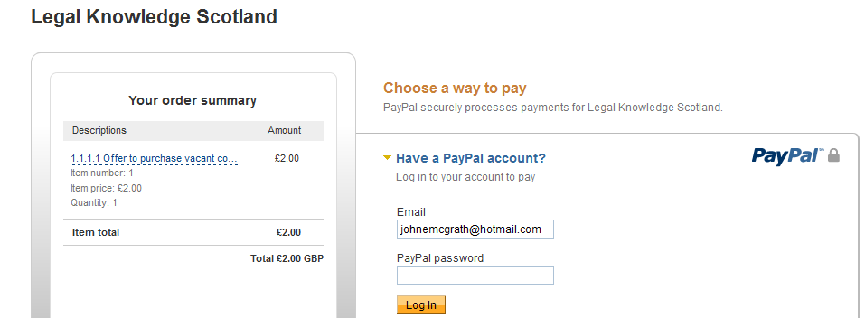 PayPal window